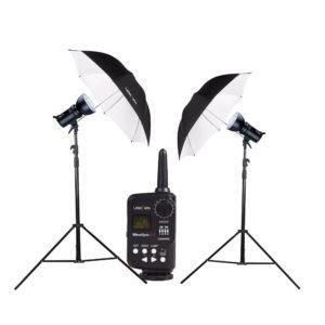 Lencarta Smartflash 4 paketti – 2x Smartflash 4 + 1x 100cm varjo + 1x 85x85cm softbox
